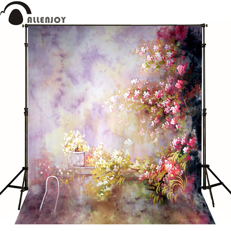 Allenjoy photography backdrops Painting hazy pink yellow flower photo background newborn baby photocall lovely thin vinyl