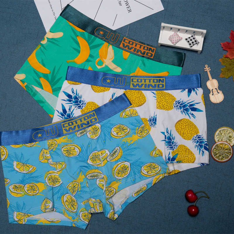 Original Design Cotton Male Underwear Fruit Cartoon Pattern Mens Boxers Breathable U Pouch Sexy Underpants Seamless Calzoncillos