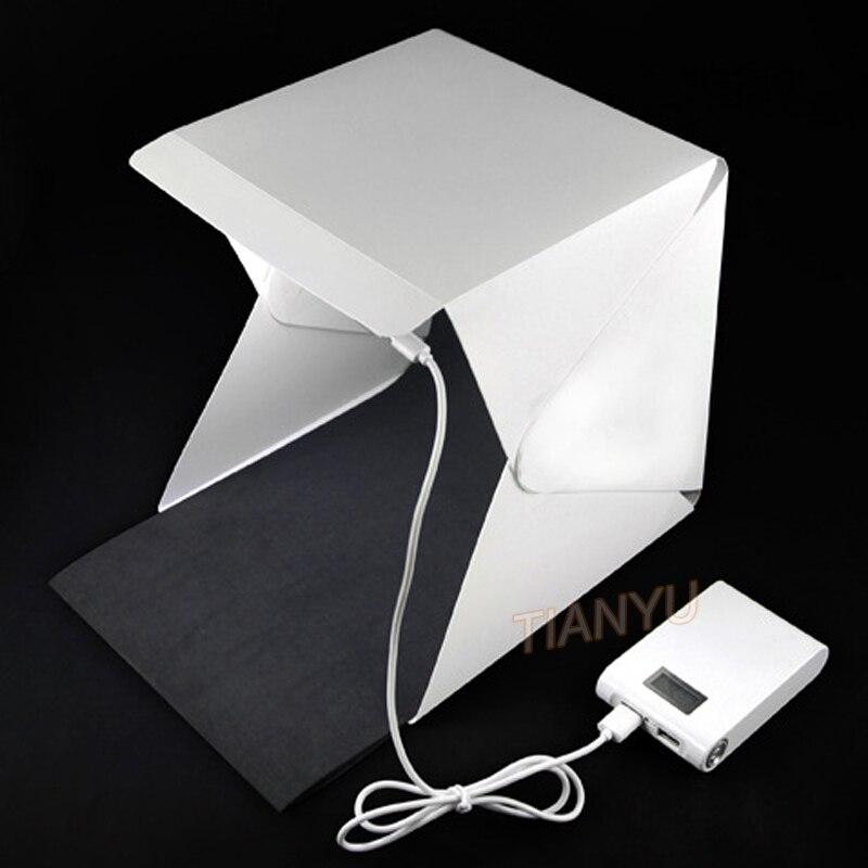 20*20 cm 30*30 cm 40*40 cm Mini Pliage Studio Diffuse Doux Boîte Lightbox Avec LED Lumière Noir Blanc Photographie Fond Photo