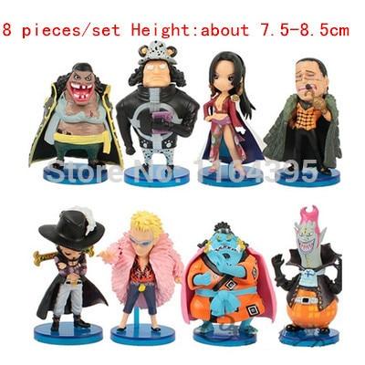 ФОТО 8 pieces / set  Size:  7.5 -8.5 CM PVC plastic model one piece  action figures hobbies plush doll  --- dsf fff 112f frr