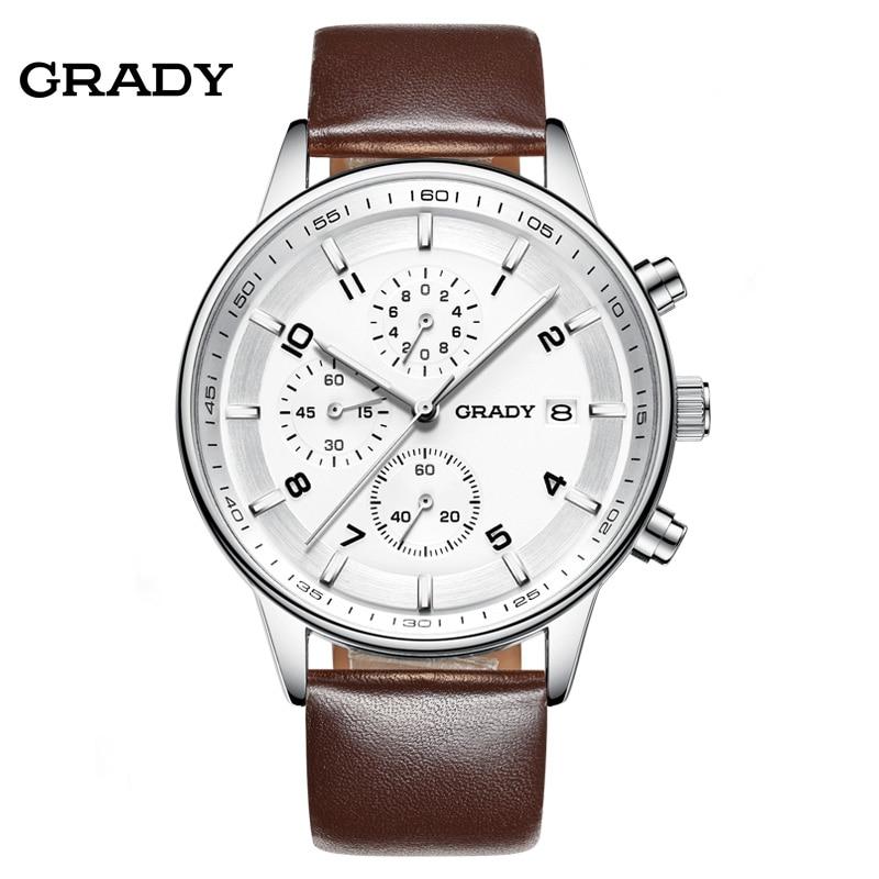 Prix pour En cuir Montres Hommes Luxe De Marque De Dessus de Grady Nouvelle Mode Hommes Designer Quartz Montre Homme Montre-Bracelet relogio masculino relojes