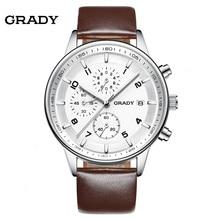 Relojes de cuero de Los Hombres de Primeras Marcas de Lujo Grady Nuevos hombres del Diseñador de Moda Reloj de Cuarzo Hombre Reloj relogio masculino relojes