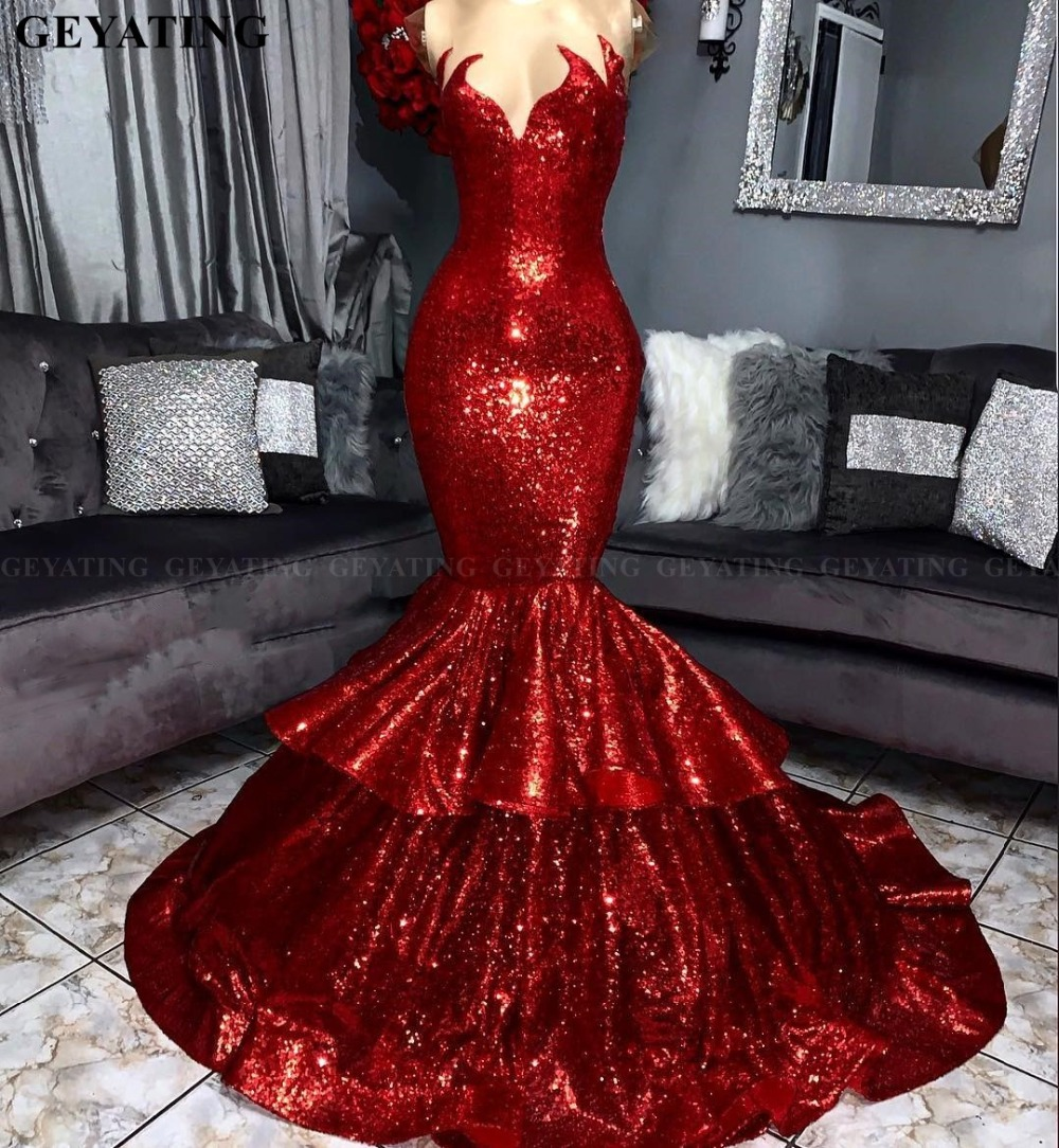 US $187.0 |Sparkly Burgundy Sequins Mermaid African Prom Dresses for Black  Girls Elegant Off Shoulder Plus Size Women Formal Evening Gowns-in Prom ...