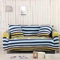 Sofa Cover Yellow And Blue Stripes Slipcover With Elastic Band Appropriate For Living Room Stretchable Machine