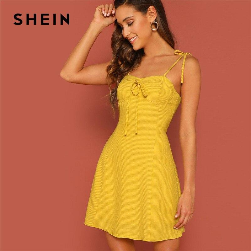 Шеин желтый с завязками на плечах в полоску бюстье трапециевидной формы летнее женское платье без рукавов с бретельками сексуальное мини-п...