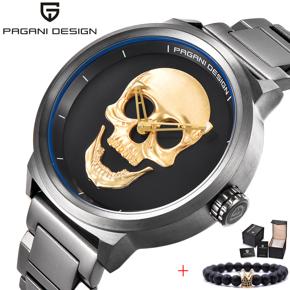 PAGANI DESIGN Brand design Punk 3D Skull Men's Fashion Personality Retro Watch Steel Stainless Quartz Watch Relogio Masculino цена