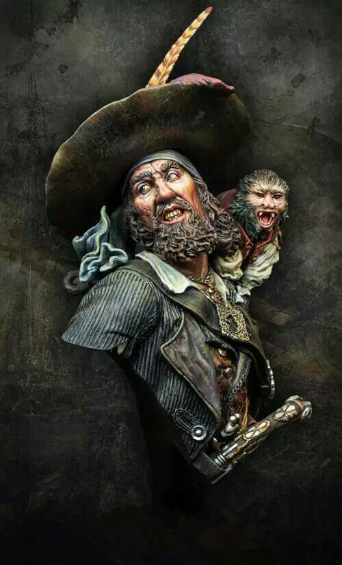 1/10 Resin Bust Model Kit Pirate And Monkey Unpainted And  Unassembled  27D