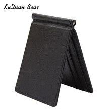 KUDIAN BEAR, тонкий мужской кошелек с зажимом для денег, мужские однотонные кошельки, дизайнерские, с зажимом, для денег, держатель для карт, чехлы-BID213 PM49