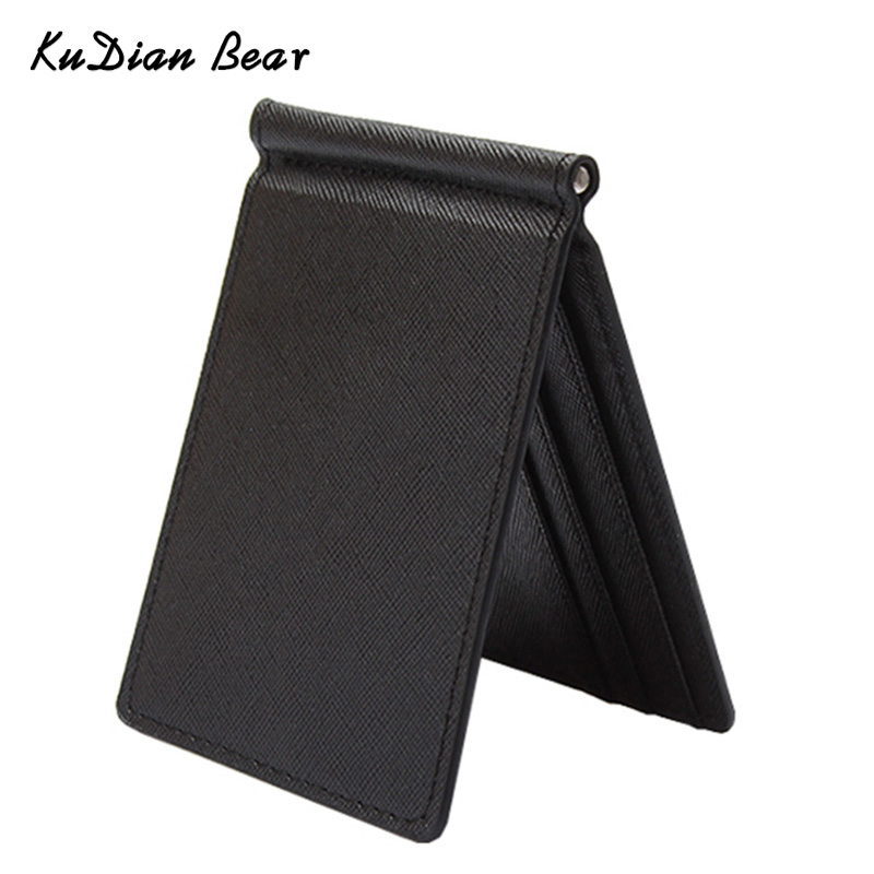 KUDIAN BEAR Slim Men Money Clip Wallet Mental Solid Male Purses Designer I Clip Money Holder Card Cases-- BID213 PM49
