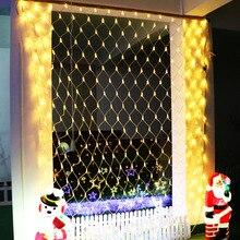Светодиодный сетчатый светильник-гирлянда, домашний фон, для улицы, для сада, рождества, декоративный, 1,5x1,5 м, 3x2, 6x4 м, Сказочная, звездная, свадебная, праздничная гирлянда, лампа