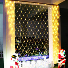 Led Net Mesh String Light Home Background Outdoor Garden Xmas Decorate 1.5x1.5M 3x2 6x4M Fairy Starry Wedding Party Garland Lamp(China)