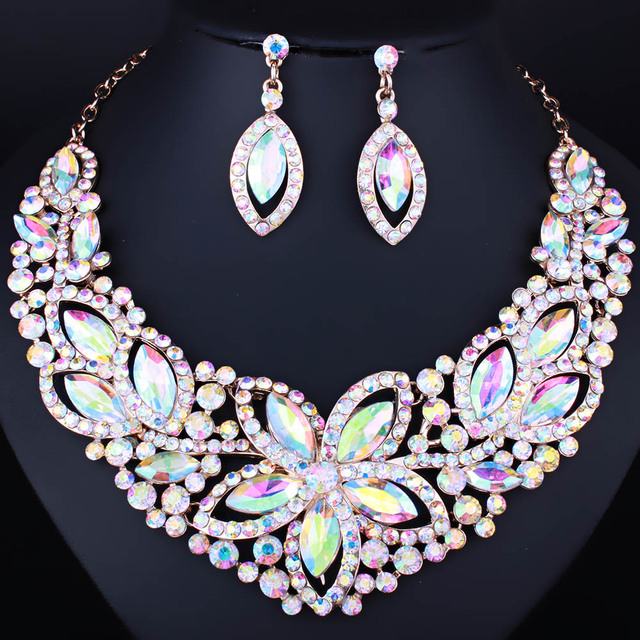 FARLENA Jewelry Luxury Flower Crystal Glass Necklace Earring set