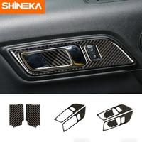 Molduras interiores para ford mustang fibra de carbono interior alças porta tigela decorativa para ford mustang 2015 2016 2017 etiqueta do carro