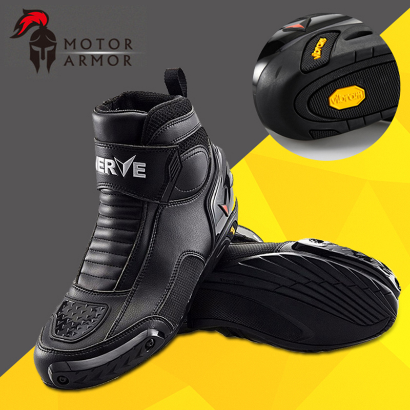 Brand NERVE Winter Motorcycle Riding Short Boots Crashproof Leather Motociclista Bota Moto Motocross Racing Waterproof font