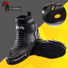 Brand NERVE Winter Motorcycle Riding Short Boots Crashproof Leather Motociclista Bota Moto Motocross Racing Waterproof Shoes Men