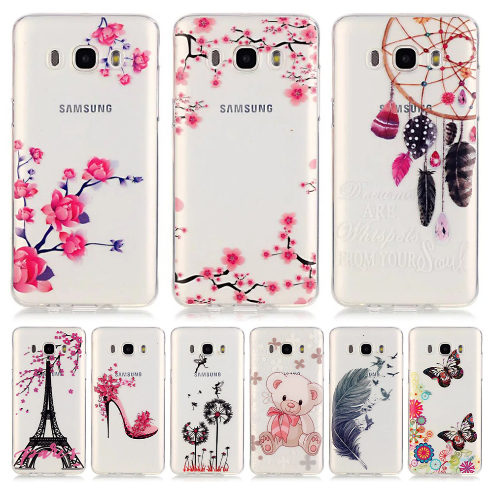 Flower Bear Transparent For Coque Samsung Galaxy J5 Case Silicone Clear TPU Soft Cover Samsung Galaxy J5 2016 Phone Cases