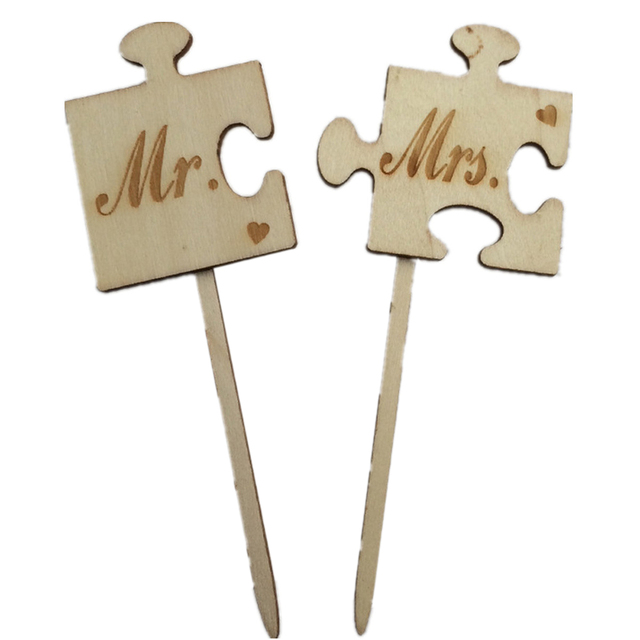 2pcs mr mrs wooden rustic wedding cake topper laser cut wood