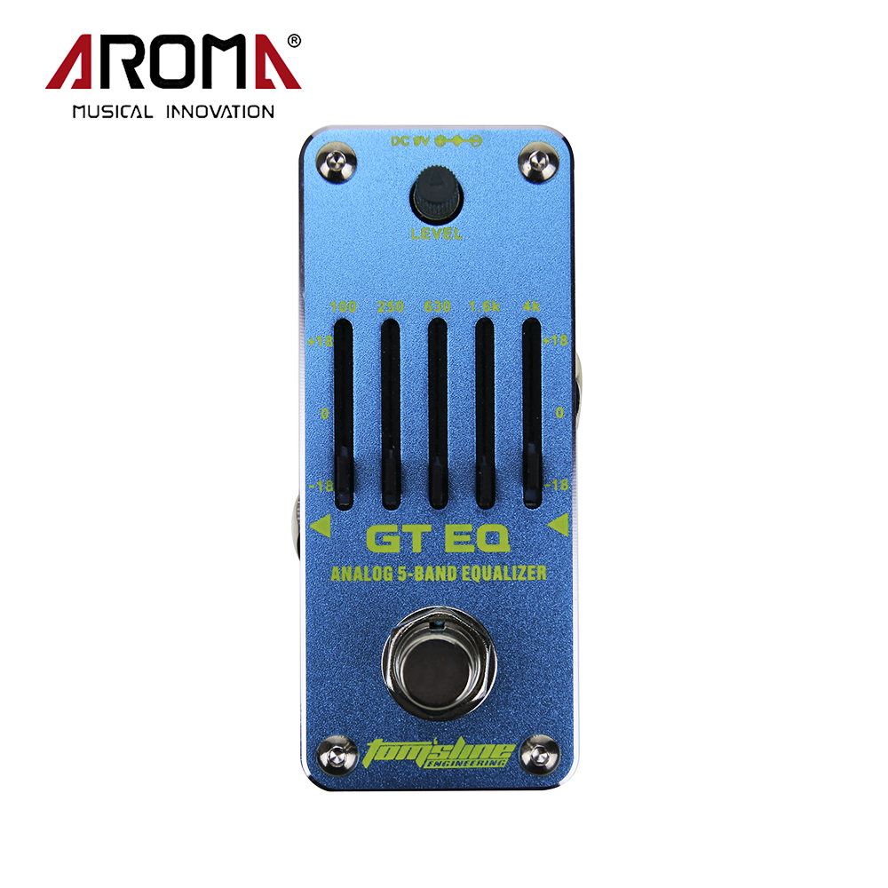 AROMA AEG-3 GT EQ 5-Band Equalizer Analog Electric Guitar Effect Pedal Mini Single Effect True Bypass aroma adr 3 dumbler amp simulator guitar effect pedal mini single pedals with true bypass aluminium alloy guitar accessories