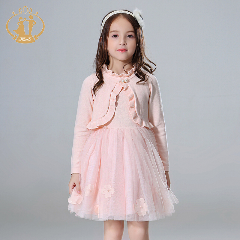Nimble New Fashion Girls Autumn Clothing Sets girl sweater set Long Sleeve Dress Sets Floral girls clothes Dress + Coat fever pitch