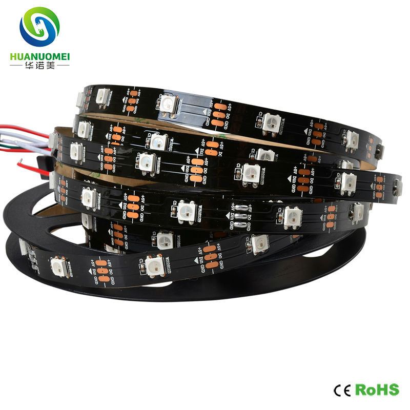 Lights & Lighting Led Strips 5v Black Pcb Ws2812b Flexible Led Strip Light 30leds/m 30pixels/m 5m/roll Ws2812 Ws2811 Digtial Strips Led Lights Non-waterproof Soft And Light