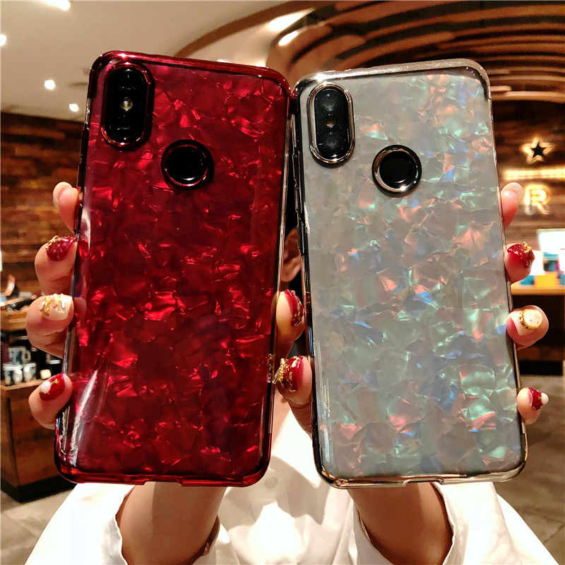 Xiaomi RedMi 6 プロ 5 プラス 6A 5A 大理石グリッターケースブリンブシリコーン TPU S2 注 7 4 × 4 Mi 9 8 SE Lite A2 A1 カバー電話ケース