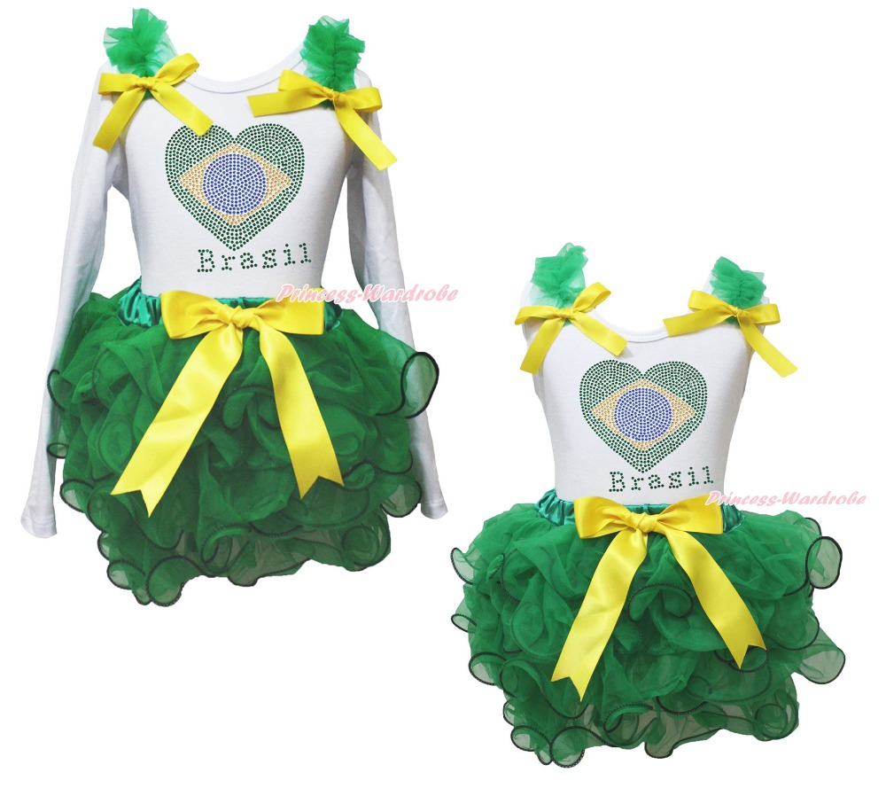 White Top World Cup Brazil Heart Kelly Green Girls Petal Pettiskirt Outfit NB-8Y brazil football fans caxirola cheer horn for 2014 brazil fifa world cup
