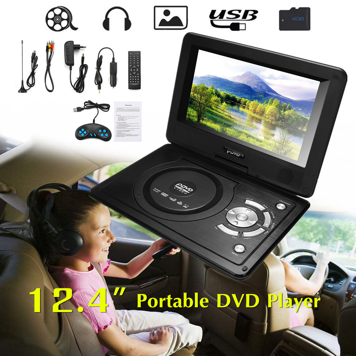 12.4 270 Rotation Screen Portable Car DVD Player Game Remote Control USB2.0 SD Adjust Viewing Angle Support TV/Game Function