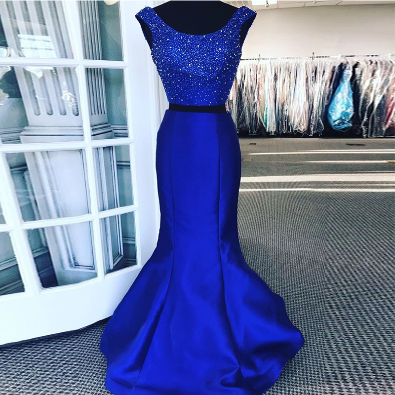 bcd40567b0 Two Pieces Royal Blue Prom Dresses Scoop Neck Long Formal Party Gowns Satin Mermaid  Style Prom Dresses vestido de formatura 2019 ~ Super Deal July 2019