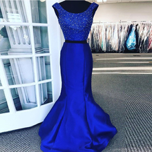 Hazy beauty Two Pieces Satin Mermaid Prom Dresses