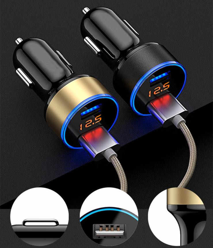 3.1A デュアル USB 車の充電器 2 ポート Lcd ディスプレイ 12-24 12v のシガーソケットライター高速車の充電器電源アダプタ車のスタイリング