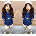 Fashion Girl Spring Clothing Set Princess Denim Jacket + Leopard Pants + Belt 3 Pcs Girls Sets Autumn Girls Outfits