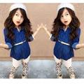 Fashion Girl Spring Clothing Set Princess Denim Jacket + Leopard Pants + Belt 3 Pcs Girls Sets Autumn Girls Outfits