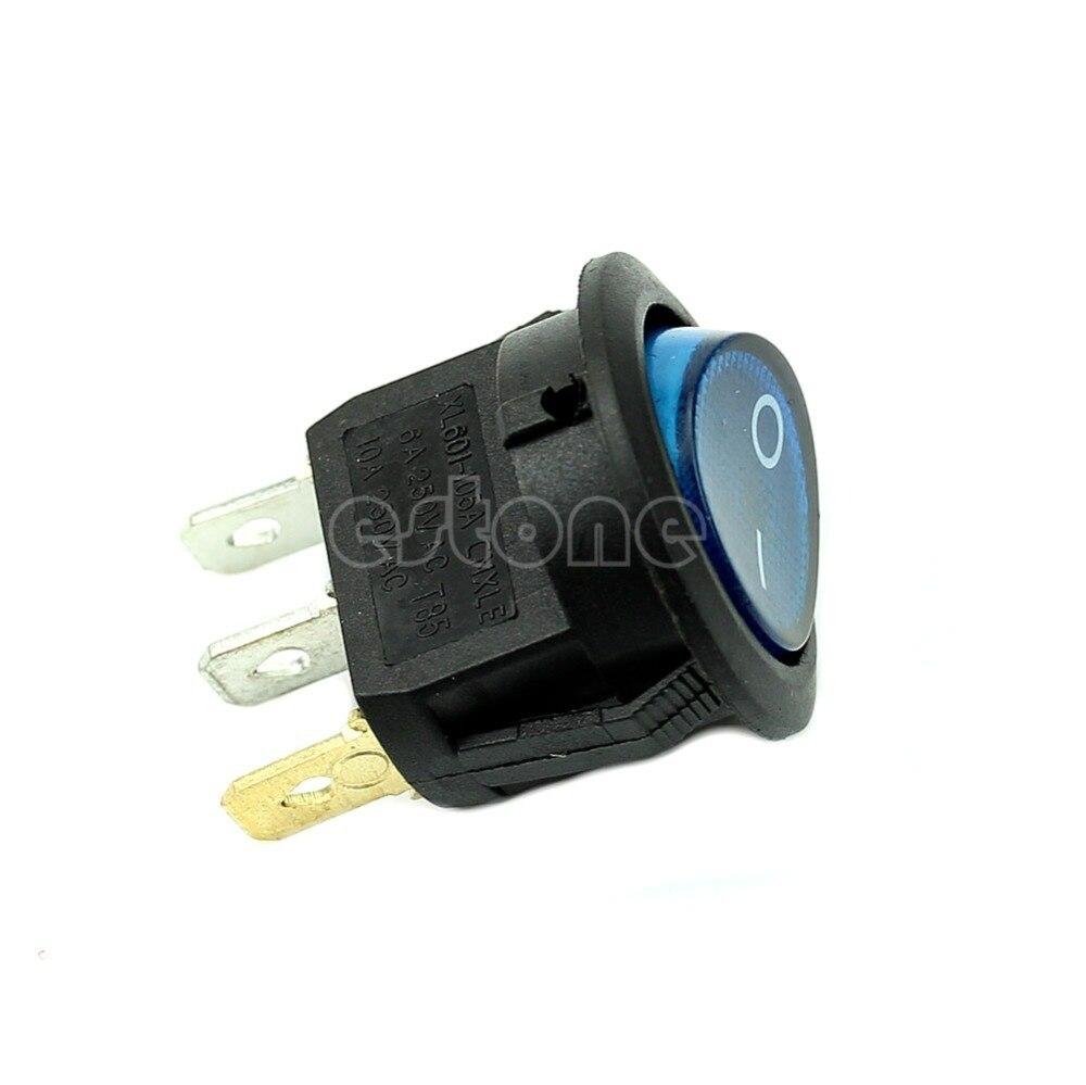 5x 6A 250VAC Light ON OFF SPST Round Button Dot Boat Car Auto Rocker Switch Blue