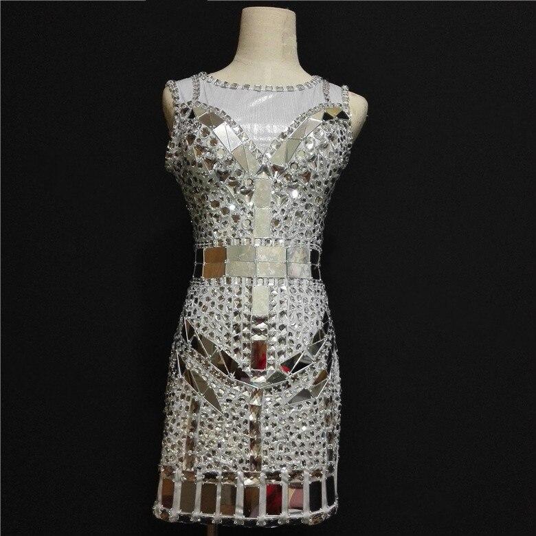 Сексуальное блестящее платье с кристаллами, сверкающее бриллиантовое короткое платье, Женская танцевальная одежда для певицы, костюм со ст