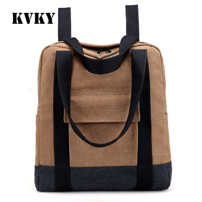 KVKY canvas preppy style fashion casual unisex daily backpack multi-purpose shoulder bag vogue classic boy's popular school bag fashion denim backpack preppy style casual shoulders double shoulder bag schoolbag style blue x 59966