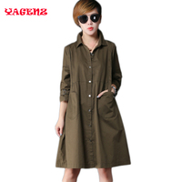 100 Cotton 2017 Spring Plus Size Navy Coat Female Autumn Windbreaker Women European Trench Coat Para