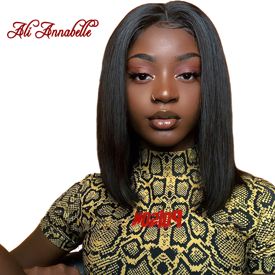 Lace Front Human Hair Wigs With Baby Hair Peruvian Straight Human Hair Short Bob Lace Front Wigs For Women Pre-Plucked Wig