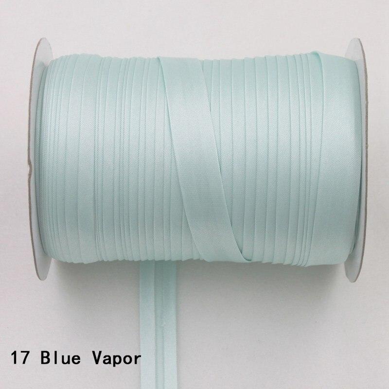 """100 ярд полиэстер 5/""""(15 мм) атласная косая лента косая Привязка сплошной цвет для пошив одежды «сделай сам» и обрезки - Цвет: 17     blue vapor"""