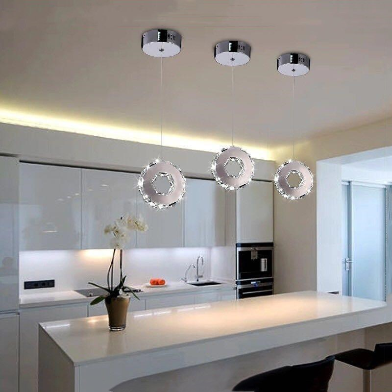Us 29 51 Off Modern Lighting Circular Led Pendant Lamp Ring Crystal Restaurant Bedroom Fixture Re Light In