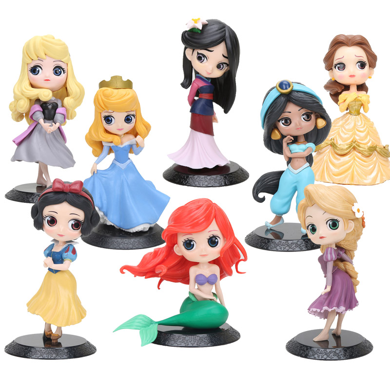 11cm Q Posket Princess Figure Mulan Snow White Rapunzel Figure Cake Decorations Action PVC Model Toy Girl Birthday Gifts