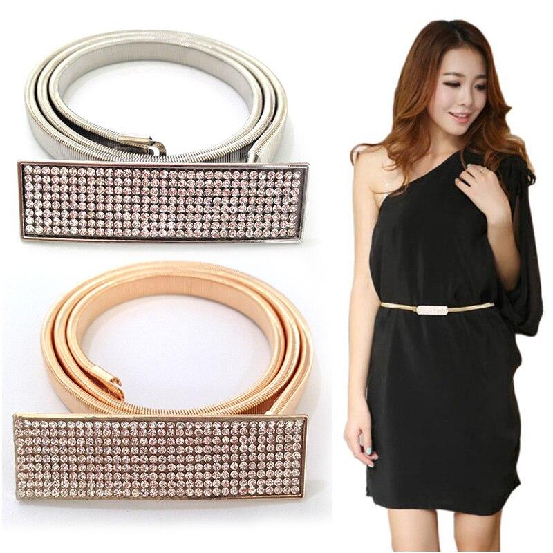 Woman Elastic Metal Chain 5 Row Rhinestone Belts for dresses Gold & Silver Chain Belts For Women Cinto Feminino Fashion bg-003