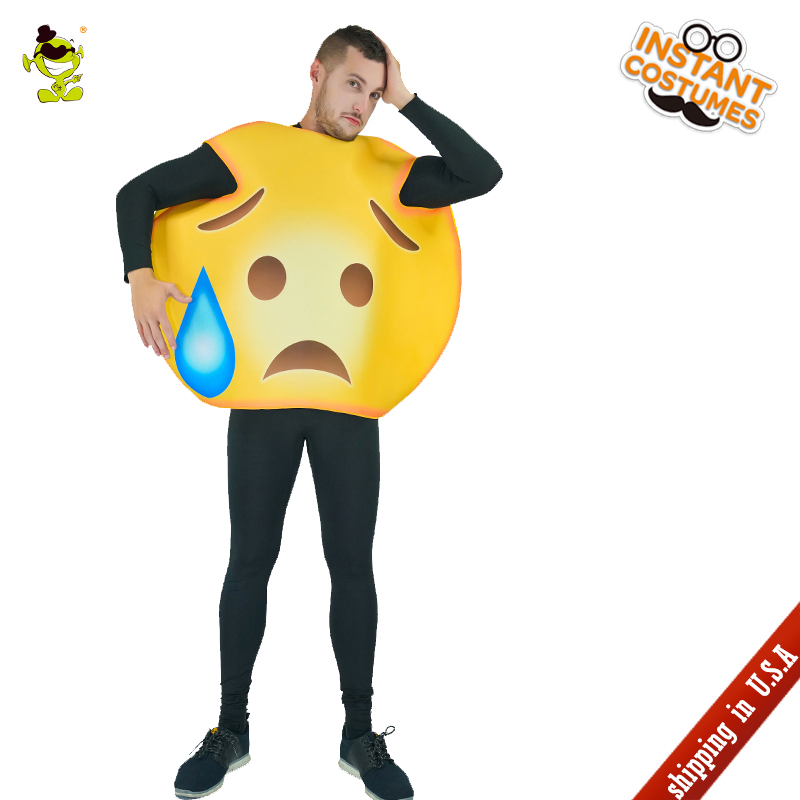 QLQ adult unisex oops Emoticon Cosutmes Performance Carnival Party Role Play Funny Emoji Jumpsuit Imitation Oops Emoji