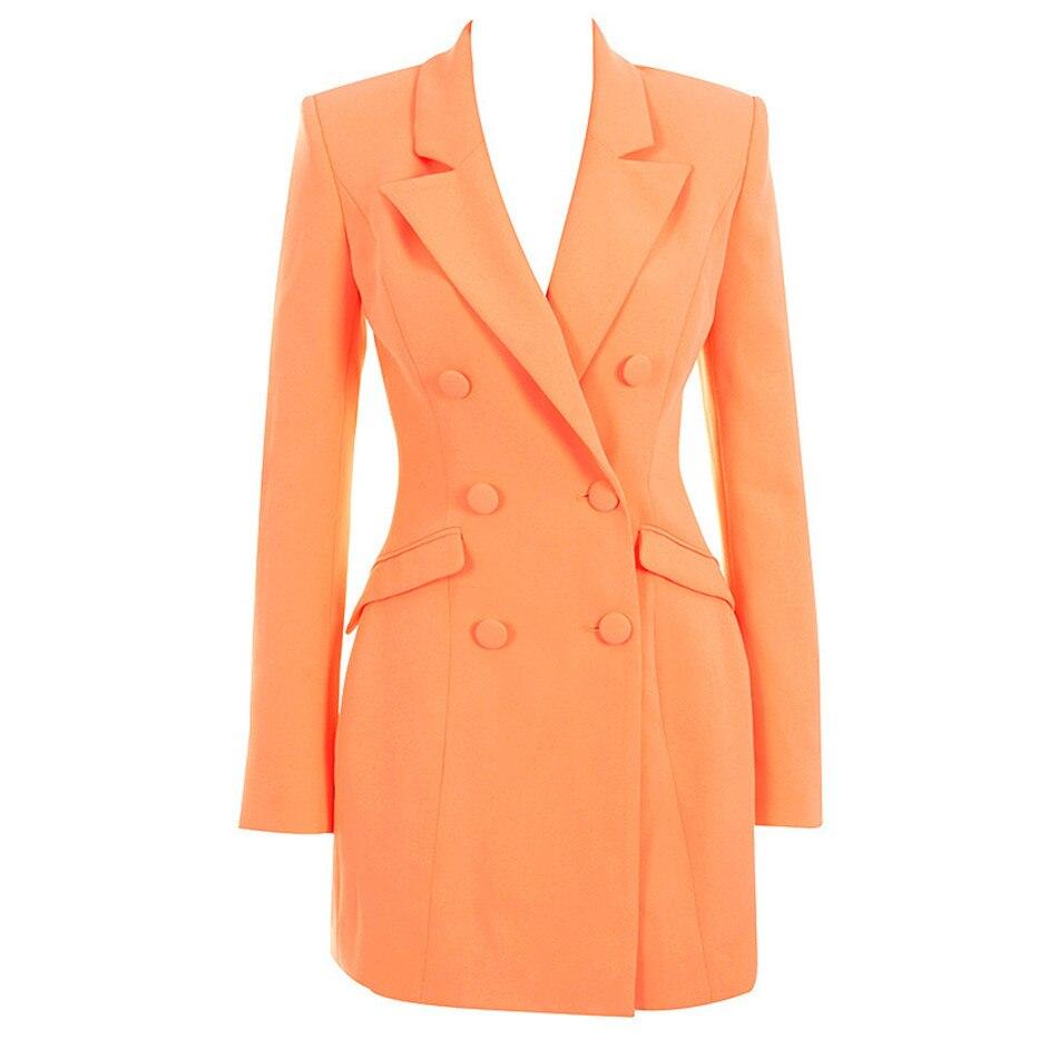Manches longues femmes robe élégante célébrité élégant Sexy printemps Blazer robe pour femme droite décontracté bouton Slim costume Blazer - 4