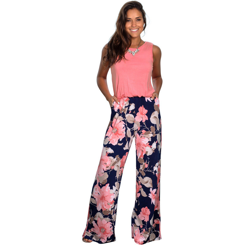 Casual Streetwear Jumpsuit Women 2020 Summer Long Pants Floral Print Rompers Beach Jumpsuits Sleeveless O-Neck Pockets Playsuits
