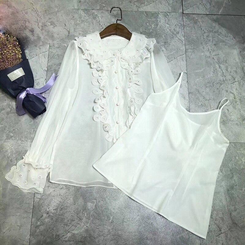 Модная блузка Осень Зима с длинным рукавом шелк рубашки для мальчиков для женщин топ дизайнер Блузки малышек взлетно посадочной