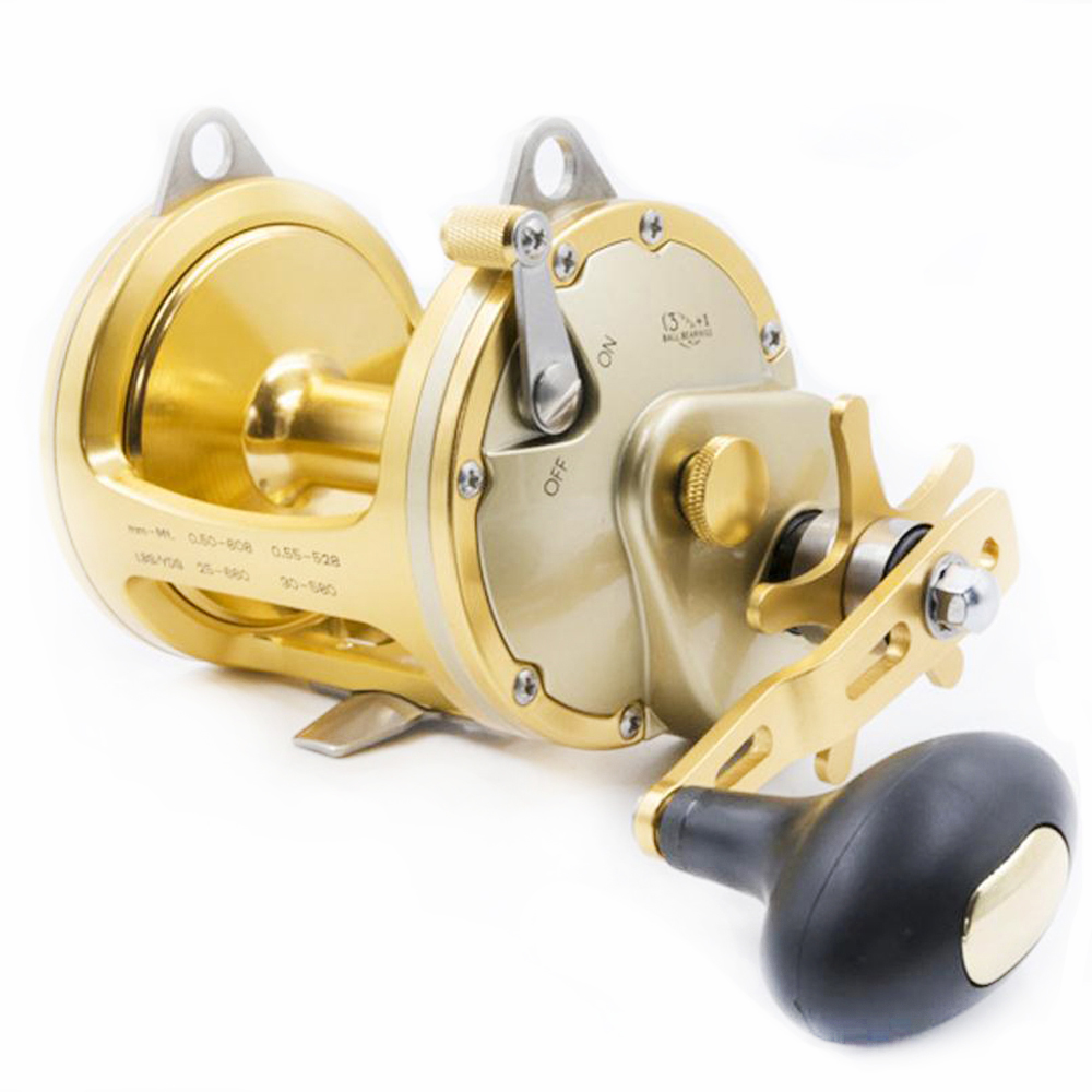 Singnol High-end Logam Emas Penuh ACT351 Drum Gulungan Pemutus Model Besar Big Fish Trolling Wheel Deep Sea Iron Boat Reel Fishing