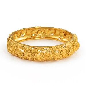 Image 3 - Anniyo 4pcs/Lot Dubai Wedding Bangles Ethiopian Jewelry Gold Color Africa Bracelets Women Arab Birthday Jewelry Gifts #199606