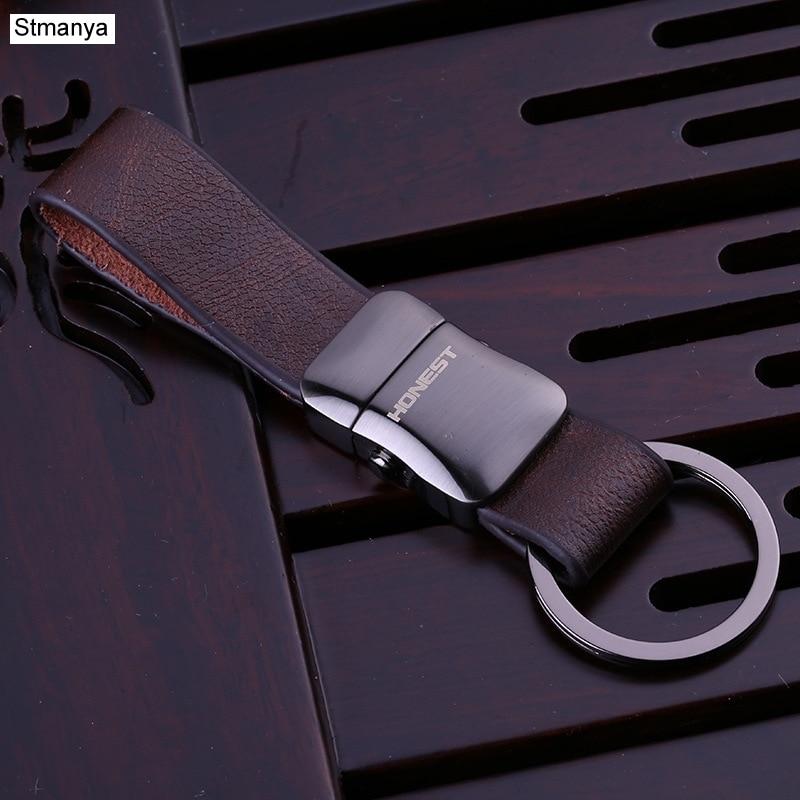 Stmanya High Quality Top metal Key chain men Car Key Chain Business Key Ring Leather bag