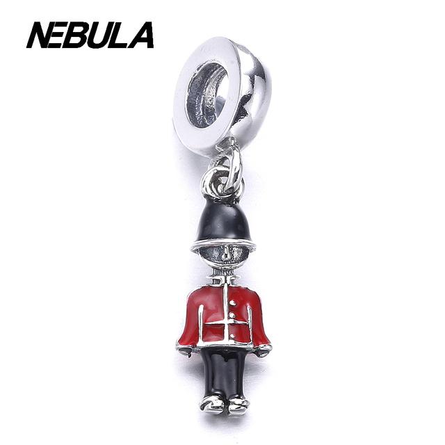 925 soldado de Brinquedo de Prata Esterlina balançar prata com preto e esmalte vermelho Charme Serve Pulseira DIY Colar de Jóias Da Marca Original