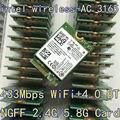 Intel 3165 3165NGW 3165AC Dual Band Wireless AC + Bluetooth4.2 Mini NGFF karty wifi 802.11AC 4.2 433 Mbps NGFF bezprzewodowa karty 3160